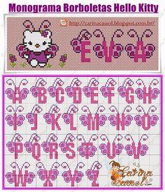 Pin by Anime&Fantasy on Hello Kitty Cross Stitch Alphabet Patterns, Cross Stitch Letters, Cross Stitch Baby, Stitch Patterns, Embroidery Alphabet, Hello Kitty Crochet, Disney Alphabet, Cross Stitch Needles, Perler Patterns