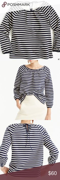 "NWT J.Crew Striped Peasant Top Brand new with tags. Color is Navy Muslin. Body length: 23 1/2"". Overall Fit: true to size  PRODUCT DETAILS A striped peasant top is a total no-brainer. This one's crafted in a knit-bonded woven cotton (so it's structured but still supersoft) with special keyhole and shell button details. Cotton - hand wash. J. Crew Tops Blouses"