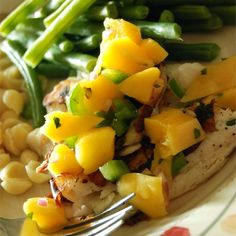 """Grilled Tilapia with Mango Salsa 