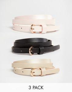 ASOS+3+Pack+Skinny+Belts+In+Pastel+Metallic
