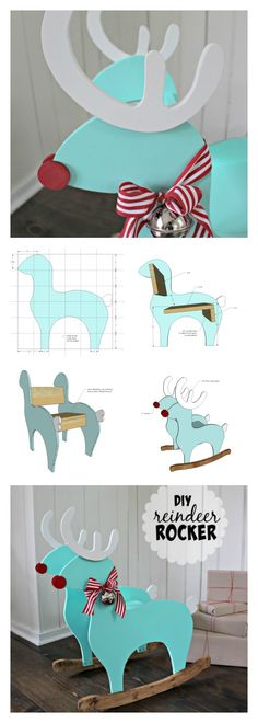 Ana White / Build a Reindeer Rocking Chair / Free and Easy DIY Project and Furniture Plans Wooden Projects, Easy Diy Projects, Furniture Projects, Furniture Plans, Kids Furniture, Wood Crafts, Christmas Wood, Christmas Projects, Christmas Decor