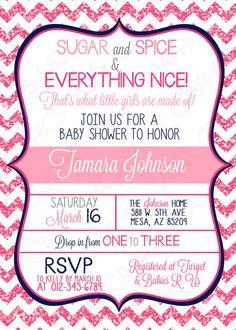 Girls Baby Shower Invitation  Chevron Glitter Hot Pink by Sassygfx, $13.00