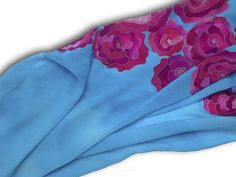 Blue silk scarf with pink roses. Sky blue, pink. Hand painted by SilkAgathe.