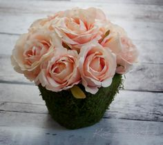 The newest centerpiece from Kate Said Yes!  Blush Pink Rose Centerpiece - Pink Rose and Moss wedding centerpiece by KateSaidYes, www.katesaidyes.etsy.com