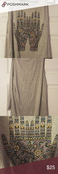 Grey tank top Grey tank top from Charlotte russe sparkles with Indie design hands pink purple blue and gold long in the back scoop neck line Charlotte Russe Tops Blouses