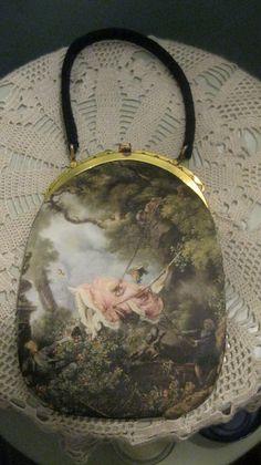 Vintage Painting Handbag/Tano Madrid/Silk/Satin/Gorgeous/Silk Screened/Romantic/Feminine/Fragonard. $55.00, via Etsy.