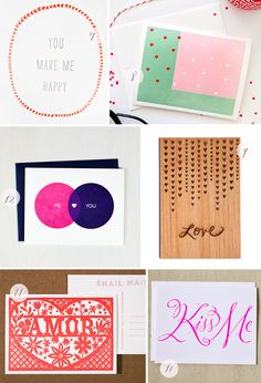 Seasonal Stationery: Valentine's Day, Part 4 | 7. 12fifteen; 8. Brown Parcel Press; 9. Cardtorial; 10. Banquet Workshop; 11. Lilco Letterpress; 12.Avie Designs | Click through for full links and resources!