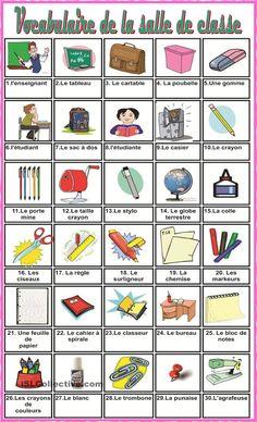 Vocabulaire de la salle de classe                                                                                                                                                      Plus