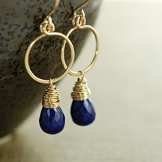 Lapis Lazuli Gold Hoop Earrings, Navy Blue Gemstone Dangle Earrings, Handmade Earrings, aubepine