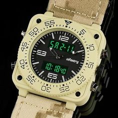 Desert INFANTRY Mens Digital LCD Analog Quartz Sport Army Wrist Watch Extra Gift