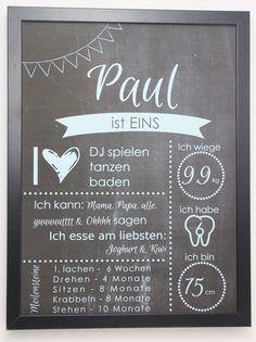 Originaldruck - Kunstdruck - Tafel für 1. Geburtstag - ein Designerstück von LaPetitePapeteriePaul bei DaWanda