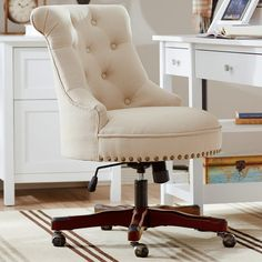 Add style and function to your office with this Eckard Ergonomic Office Chair. A classic nailhead trim gives this mid-back Eckard Ergonomic Office Chair a timeless look while button-tufted details add elega Office Guest Chairs, Luxury Office Chairs, Luxury Chairs, Desk Office, Office Paint, Study Office, Small Office, Tufted Chair, Chair Upholstery
