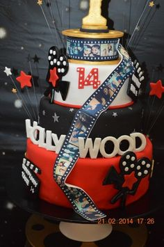 Stunning cake at a Hollywood Birthday Party! See more party ideas at CatchMyParty.com!