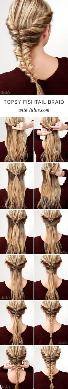 A few twists and topsy ponytails combine to create a voluminous (and versatile!) style, perfect for any occasion!