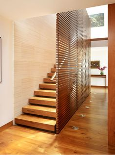 Timber screen with open stairs
