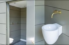 poolhouse NL, Vola in brass. design Babs Appels. Photography Alfred Momotenko.