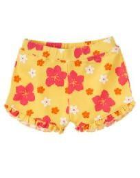 Gymboree Aloha Sunshine Yellow Hibiscus Flower Knit Shorts 18 - 24 months Free Ship I pay Slice!!