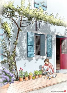Gardening is a theraphy . I am happy to do this everyday because i love touching soil and love flower. Scenery Wallpaper, Anime Scenery, Cute Illustration, Anime Art Girl, Aesthetic Art, Cute Drawings, Cute Art, Art Sketches, Watercolor Art