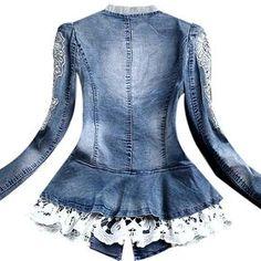 casaco denim lady - by leola Denim Fashion, Womens Fashion, Denim Ideas, Denim Crafts, Denim And Lace, Apparel Design, Girl Outfits, Lady, Clothes