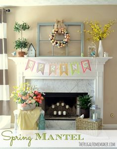Yellow and blue Spring/Easter mantel - The Frugal Homemaker | The Frugal Homemaker