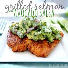 """Grilled Salmon with Avocado Salsa By @TheCookieRookie Please visit her blog for more, link in her profile - 2 lbs salmon, cut into 4 pieces 1 tbs olive…"""
