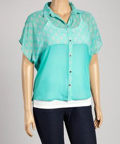 Another great find on #zulily! Mint Cross Button-Up Top - Plus by Freshmint #zulilyfinds