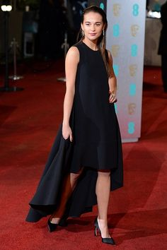 Bafta 2013 - Rising Star nominee Alicia Vikander in a Dior black dress and classic black heels.
