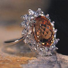 Imperial Topaz & Platinum ring; always wanted an Apricot-colored Imperial Topaz!