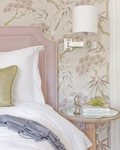 Suzie: Lovejoy Designs - Sweet bedroom with pink gold Chinoiserie wallpaper, polished nickel ...