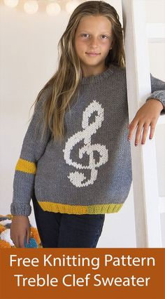 Free Sweater Knitting Pattern Treble Clef Child's Jumper Sizes 4 Years to 12 Years May only be free a limited time. Child's pullover sweater with a musical treble clef motif. Sizes 4 Years to 12 Years. Designed by Katia as Sweater in Katia Maxi Merino 6124_76. Chunky weight yarn. Yarn also available on pattern page. Pullover Sweaters, Jumper, Men Sweater, Sweater Knitting Patterns, Free Knitting, Treble Clef, Knitting Projects, Free Pattern, Musicals