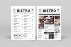 Newspaper Style Food Menu by Guuver on @creativemarket