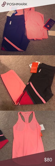 Zella workout tank and capri pants new w/ tags! Brand new never worn workout tank and crop pants by Zella. Waited too long to return them so trying to sell them now. The pink is a fun bright color, pictures don't do it justice! Tank is considered flex fit and pants are considered slim fit. Both size XS Zella Other