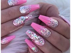 Pink Chrome And Ombré Coffin Nails by MargaritasNailz
