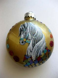 hand painted disk glass  ornament