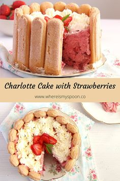 A delicious strawberry charlotte with a light mousse filling and sweet and crunchy ladyfingers. Strawberry Mousse Cake, Strawberry Cake Recipes, Strawberry Shortcake, Charlotte Dessert, Charlotte Cake, Yummy Treats, Yummy Food, Tasty, Simple Cakes