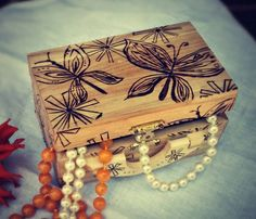 Wood Burned Butterfly Jewelry Box