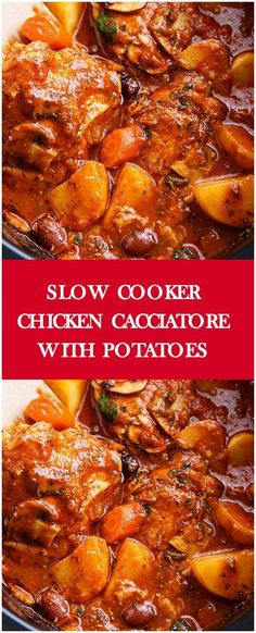 SLOW COOKER CHICKEN CACCIATORE WITH POTATOES #foodlover #homecooking #cooking #cookingtips