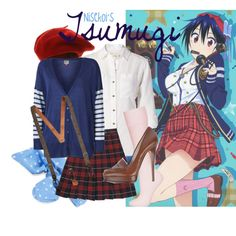 [Nisekoi] Tsugumi Seishirou - Vol.3 Bonus CD Cover by animangacouture on Polyvore featuring ONLY, MICHAEL Michael Kors, Topshop, Casadei, Aéropostale, Brooks Brothers, French Toast, anime, plaid and otaku