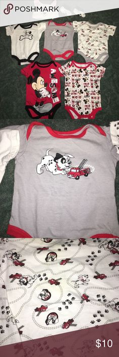 Disney Baby bundle 3 months Disney Baby bundle 3 months. Smoke free and pet free home. Dalmatian onesies and 0-3 months and Mickey is 3 months. Plus cute little hat and booties! Disney One Pieces Bodysuits