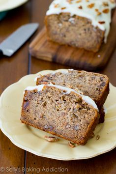 Best-Ever Banana Bread with Cream Cheese Frosting. 4 whole bananas, brown sugar, extra egg, and yogurt makes this banana bread super-moist and soft.