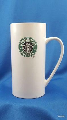 Starbucks Coffee Mug Cup Skinny Tall 14 oz Mermaid Siren Green Black Logo 2008 #Starbucks