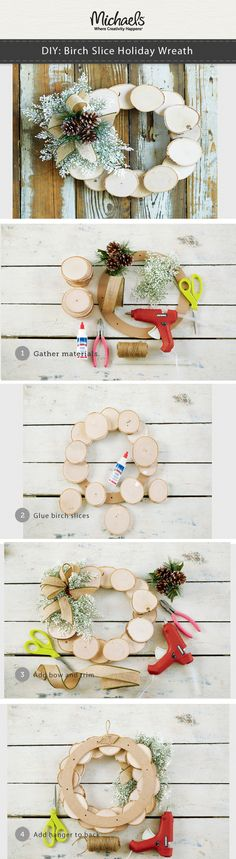 DIY Birch Slice Holiday Wreath