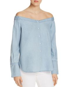 DL1961 East Hampton Off-The-Shoulder Chambray Top