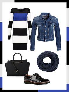 What to wear to work: das perfekte Büro-Outfit für kühlere Tage. Ein gestreiftes Strickkleid kombiniert mit cooler Jeansjacke und Loop-Schal ist alltagstaglich und schick zugleich.