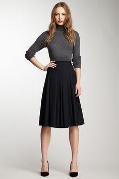 black skirt, grey turtleneck