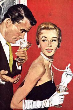 "Vintage Illustration the-art-of-romance: ""I think im falling in love"" he said."" (via: the-art-of-romance) - Romance Vintage, Romance Art, Im Falling In Love, Vintage Couples, Poses References, Arte Pop, Pulp Art, Retro Art, 60s Art"