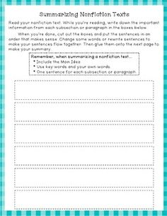 Great worksheet for summarizing Nonfiction texts, can be aligned with commmon core standard Determine the main idea of a text and explain how it is supported by key details; summarize the text. Reading Comprehension Skills, Writing Strategies, Reading Skills, Writing Prompts, Student Teaching, Teaching Reading, Guided Reading, Teaching Ideas, Learning