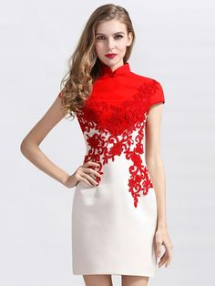 Custom Tailored Qipao / Cheongsam Dress with Lace Contrast