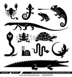 Set of various animal icons: scorpions, snakes, frogs, lizards, snails, crocodiles, turtles, cobra, chameleon, gecko  . Vector illustration. - stock vector