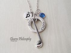 Golfing Necklace - Golf Club Charm - Antique Silver Jewelry - Monogram Personalized Initial and Birthstone - Gift for Golfers